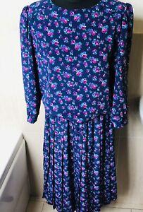 True Vintage 80s Berkertex Dress Dropped Waist Blue Floral Size 14 Made in GB
