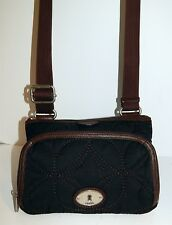 Fossil Key-Per Black Quilted Canvas Brown Leather Organizer Crossbody Bag