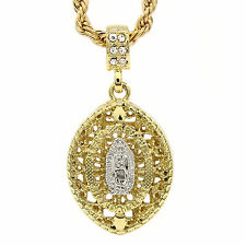 "Men's Hip Hop Gold plated Cage Virgin Mary Micro Pendant 4mm 24"" Rope Chain TCH"