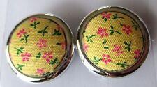 boucles d'oreilles rétro ronde résine couleur argent tissus jaune fleurs 3536