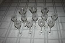 Clear Crystal Floral Cut Pattern Dots Cut Stem 9 Cordials 3 Sherry Wine Glasses