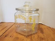 Antique Planters Mr. Peanut Store Display Jar w/ Peanut Lid Six Sided Hexagonal