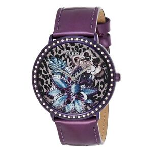 Guess Women's Watch Ladies Stainless Steel Leather Band W0820L3 Purple