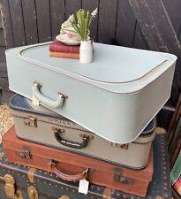 Vintage Baby Blue Norton Luggage Faux Leather Suitcase Decorators Piece