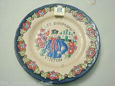 "Emaux d' Longwy  Virton Les Zigomars collector plate, France. 7"", rare!![DL30]"