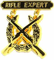 US MARINE CORPS GOLD RIFLE QUALIFICATION EXPERT SHOOTING BADGE PIN