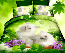 4 tlg.3D Effekt Bettwäsche Bettbezug Bettgarnitur 155x200cm Weisse Katze im Gras
