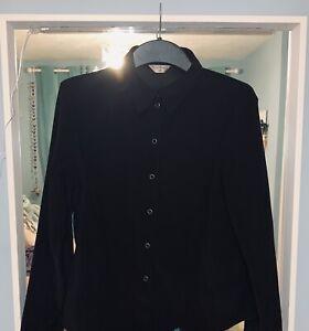 Vintage Retro Black Long Sleeve Shirt Womens Size L / 14 Oversized Suade Velvet