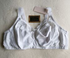 38D COTTON RICH L@@K  2 WHITE NON WIRED FULL CUP BRA,S SIZE FRONT FASTENING