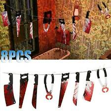 8pcs Halloween Blood Knife Horror Spooky Haunted House Hanging Knife Garland