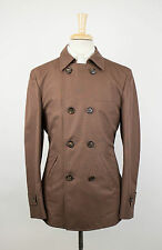 NWT BRUNELLO CUCINELLI Brown Cotton-Silk Peacoat Jacket Size 50/40/M $1915