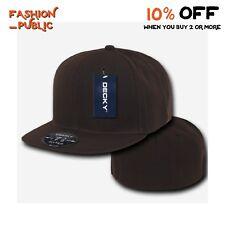 DECKY HAT RP1 MEN'S PLAIN FLAT BILL HATS BASEBALL CAP FITTED SOLID RETRO CAPS
