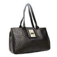 Ladies Real Italian Leather Ostrich Print Womens Shoulder Large Satchel Handbag