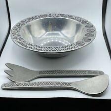 New listing Wilton Armetale Reggae 12.5 Inch Salad Serving Bowl With Serving Spoon & Fork