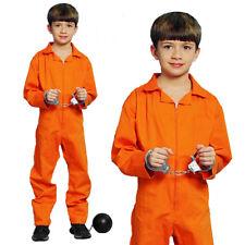Orange Prisoner Boy Convict Inmate Overall Jumpsuit Fancy Costume Cosplay Yr7-12