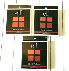 E.L.F. Blush Palette, Dark, Powder #83315- Quad Contour Matte - 3 Pack