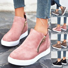 New Womens Casual High Top Sneakers Ankle Boots Trainers Comfy Zip Flat Shoes