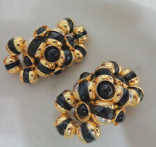 BEAUTIFUL CLIP EARRINGS GOLD TONE W BLACK CRYSTALS ALL AROUND 2""