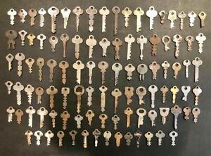 Vintage 100 Pc Safety Deposit Box / Industrial Cabinet Flat Skeleton Key Lot