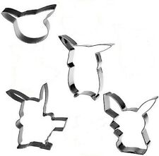 NEW Set of 4 Pokemon Pikachu Inspired Shaped Cookie Cutters Molds Stamps