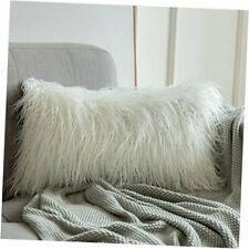Decorative New Luxury Series Style Faux Fur Throw Pillow Case 12''x20'' White