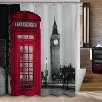"""72"""" London Big Ben Pattern Shower Curtain Bathroom Waterproof Fabric W/12 Hooks"""