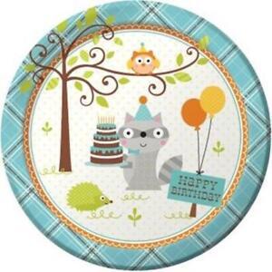 Happy Woodland Boy 9 Inch Paper Plates 8 Pack Owl Raccoon Birthday Tableware
