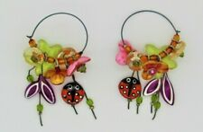 Flowers Earrings Handcrafted Ladybug &