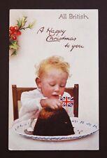 Raphael Tuck Postcard Christmas Pudding WW1 p/m 1914 John St Plymouth Devon