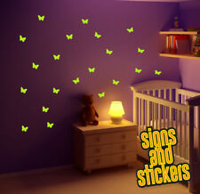 22 Glow in the Dark Butterfly Bedroom Wall Stickers, Decals Graphics art