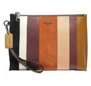 ❤️ Coach Charlie Small Pouch Beechwood Multi/Sliver Patchwork Stripes Pouch