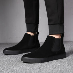 Mens Slip On Ankle Boots Work Outdoor Sports Breathable Comfortable Canvas Shoes