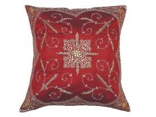 Decorative Burgundy Beaded Zardozi Pillow Cover Floor Lounge Euro Cushion 26""