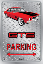 Parking Sign - Metal - HOLDEN HQ - GTS 4 DOOR - RED - MONO WHEELS