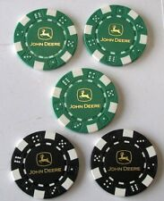 5 John Deere 2006 Tampa FL Expo Green & Black Collector Poker Chips Tokens HTF