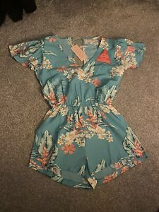 Dancing Leopard Silk Fred Rio Playsuit 8 Small Tropical RRP £42