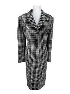 KASPER ASL 2PC Black Beige Tweed Lined Notch Collar Skirt Suit Size 16P