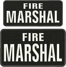 Fire Marshal  Embroidery Patch 4x10 and 6x11hook on back   White Letters