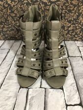 ladies shoes heels strappy sandals grey straps size 7 UK good condition