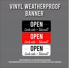 Open for curbside and takeout Restaurant food Vinyl Banner sign business shop