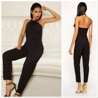Lipsy Black Lace Top Halter Neck Jumpsuit Size UK-10 EU-38 US-6 AUS-10