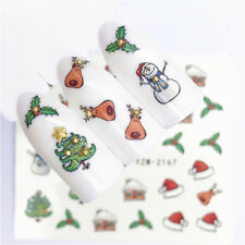 Nail Art Water Decals Stickers Christmas Snowman Reindeer Holly Tree (A167)