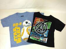 Lot of 2 Star Wars Avengers Short Sleeve T-Shirts Boys Size 4/5 & S Blue/Black