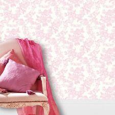 PINK WHITE VINTAGE LACE DAMASK CROWN TEA ROSE FEATURE DESIGNER WALLPAPER M0756