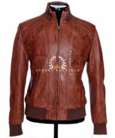 Cruise Brown Men's Vintage Retro Real Waxed Sheep Nappa Leather Fashion Jacket