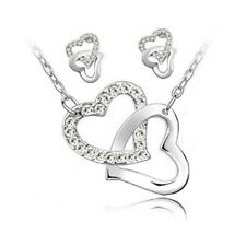 Wedding Bridal Jewellery Set White Crystal Hearts Studs Earrings & Necklace S116