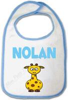 Bavoir Bébé Bleu Girafe avec Prénom Personnalisé
