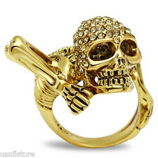 Citrine Yellow Crystal Head Skull Gold EP Mens Ring