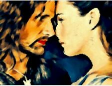 Aragorn e Arwen The Hobbit Original Hand Oil Painting Sketch Card ACEO