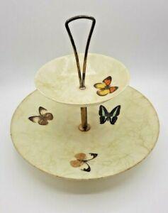 Vintage MCM Butterfly Fiberglass 2 Tiered Tidbit Tray Gold Strands Butterflies